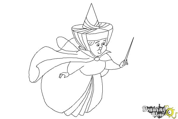 How to Draw Merryweather from Sleeping Beauty - Step 9