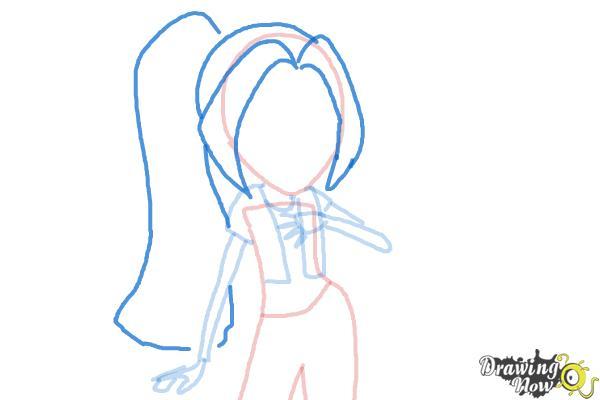 How to Draw Aria Blaze from My Little Pony Equestria Girls: Rainbow Rocks - Step 5