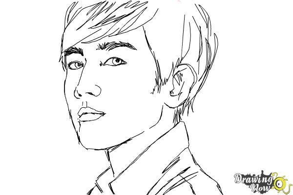How to Draw Byun Baek Hyun from (Exo-K) - Step 9