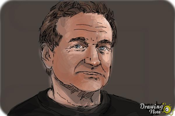 How to Draw Robin Williams - Step 10