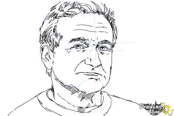 How to Draw Robin Williams - Step 9