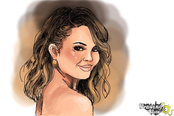 How to Draw Chrissy Teigen - Step 9