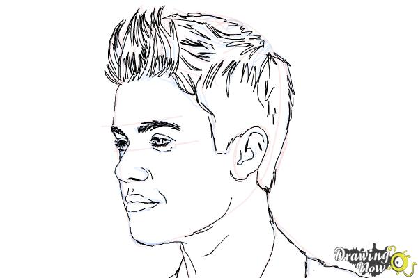 How to Draw Justin Bieber 2014 - Step 8