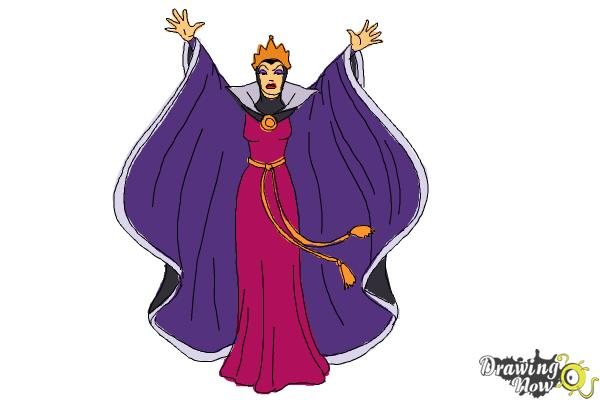 How to Draw Evil Queen, Disney Villain - Step 10