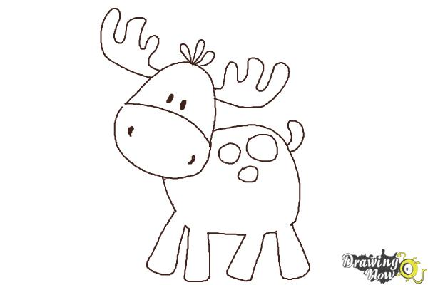 How to Draw a Moose For Kids - Step 8