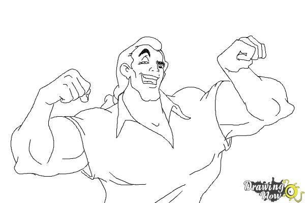 How to Draw Gaston, Disney Villain - Step 10