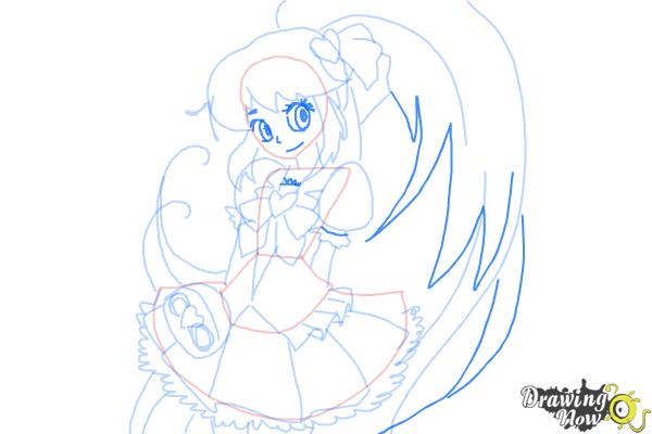How to Draw Cure Lovely, Aino Megumi from Happiness Charge Precure - Step 8