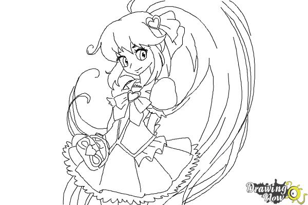 How to Draw Cure Lovely, Aino Megumi from Happiness Charge Precure - Step 9