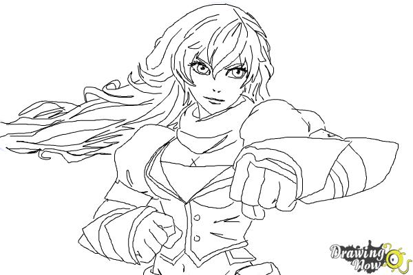 How to Draw Yang Xiao Long from Rwby - Step 9