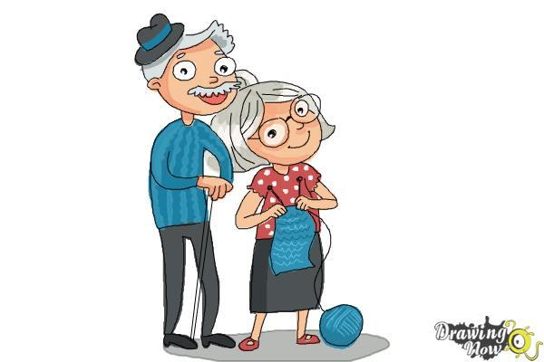 How to Draw Grandparents - Step 14