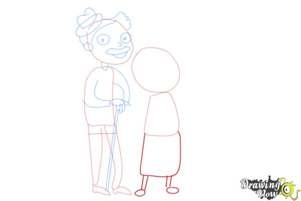 How to Draw Grandparents - Step 8