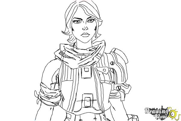 How to Draw Athena from Borderlands The Pre-Sequel - Step 9
