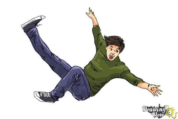 How to Draw a Person Falling - Step 12