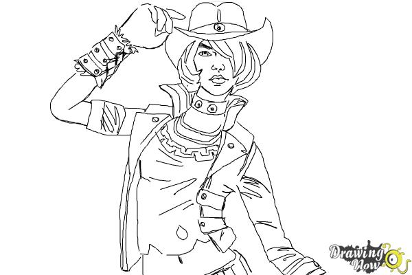 How to Draw Nisha from Borderlands The Pre-Sequel - Step 10