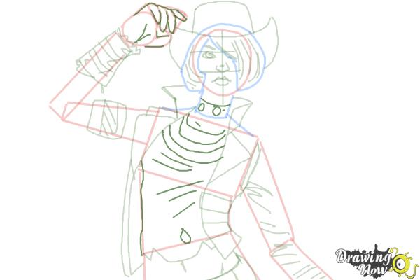 How to Draw Nisha from Borderlands The Pre-Sequel - Step 9