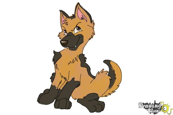 How to Draw a German Shepherd Puppy - Step 11