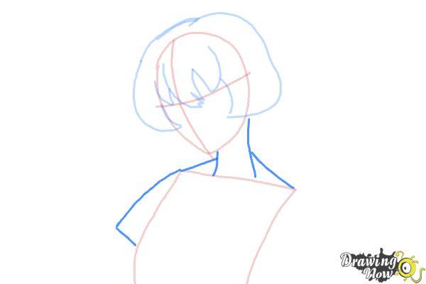How to Draw Gasai Yuno from Mirai Nikki - Step 4