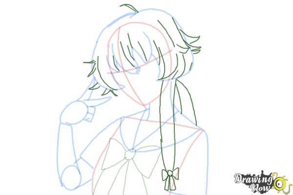 How to Draw Gasai Yuno from Mirai Nikki - Step 9
