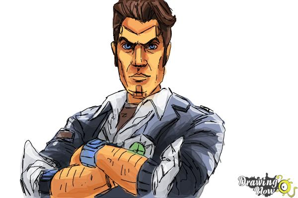 How to Draw Handsome Jack from Borderlands 2 - Step 13