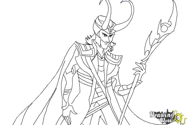 How to draw loki from thor step 11