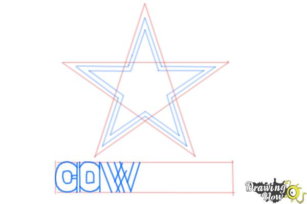 How to Draw Dallas Cowboys Logo, Nfl Team Logo - Step 6