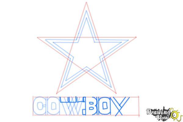 How to Draw Dallas Cowboys Logo, Nfl Team Logo - Step 7