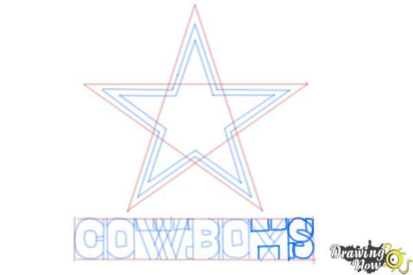 How to Draw Dallas Cowboys Logo, Nfl Team Logo - Step 8