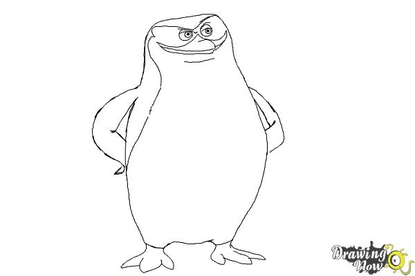 How to Draw Skipper from The Penguins Of Madagascar - Step 8