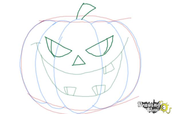 pumpkin drawing step by step. how to draw a halloween pumpkin - step 7 drawing by