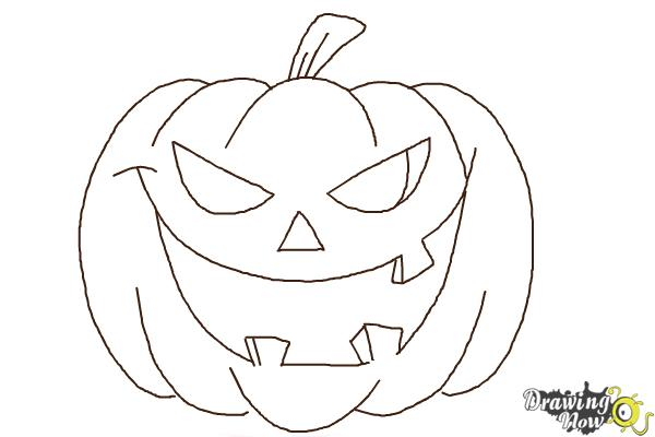 How to Draw a Halloween Pumpkin - Step 8