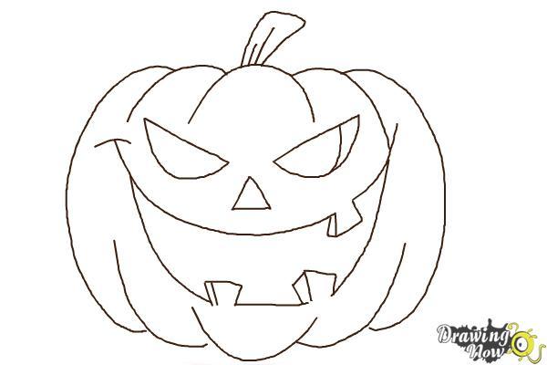 How to Draw a Halloween Pumpkin - Step 8