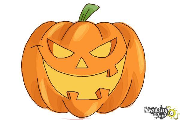 How to Draw a Halloween Pumpkin - Step 9