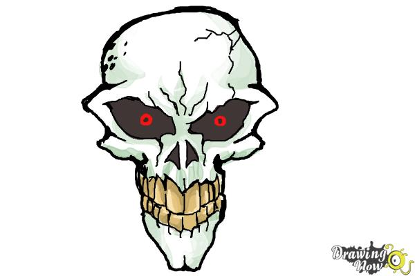 How to Draw a Scary Skull - Step 10