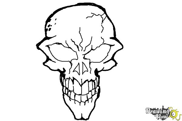 How to Draw a Scary Skull - Step 9