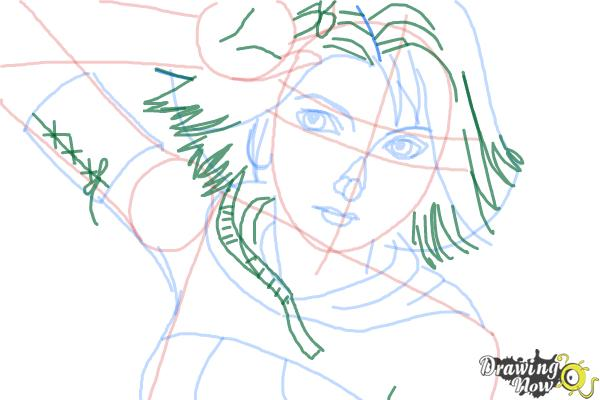 How to Draw Yuna from Final Fantasy - Step 8