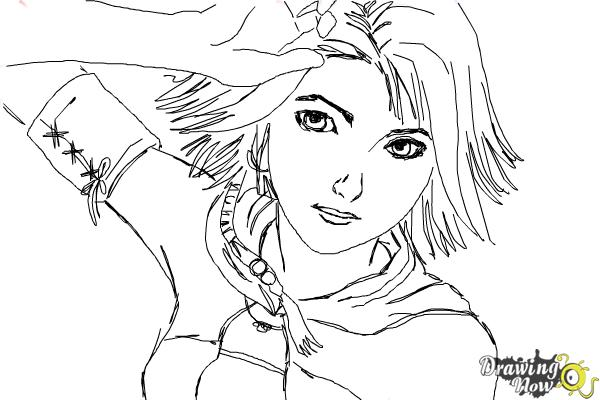 How to Draw Yuna from Final Fantasy - Step 9