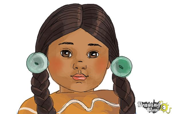 How to Draw Kaya, Doll from American Girl - Step 10