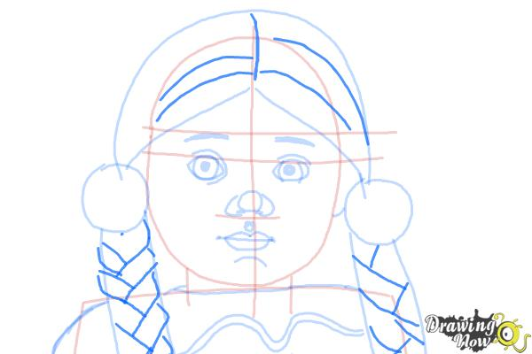 How to Draw Kaya, Doll from American Girl - Step 8