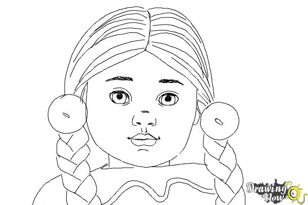 How to Draw Kaya, Doll from American Girl - Step 9