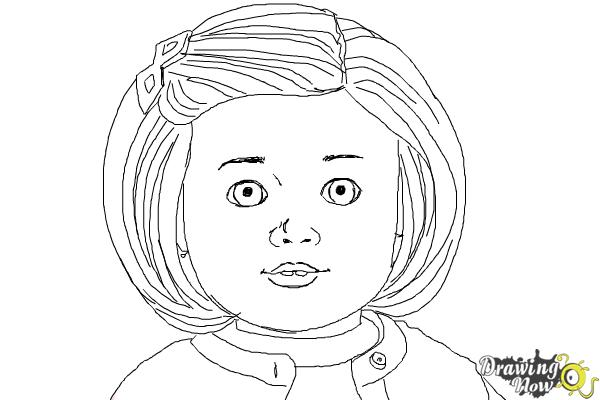 How to Draw Kit, Doll from American Girl - Step 9