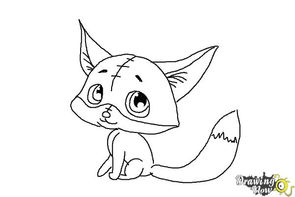 How to Draw a Baby Fox - Step 10