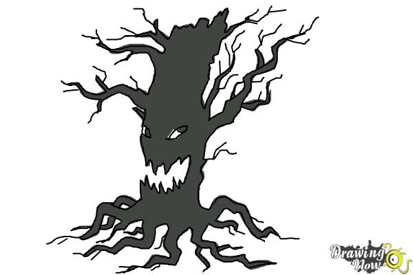 How to Draw a Scary Tree - Step 10