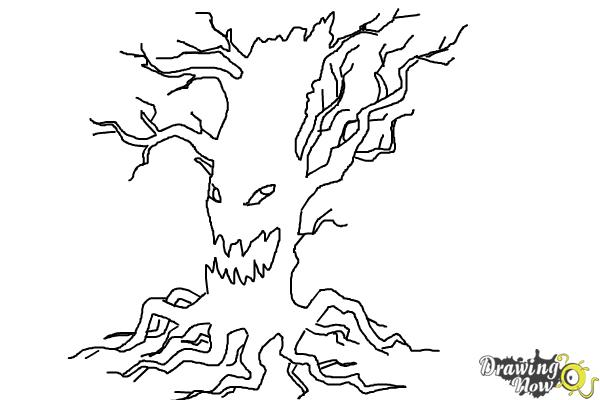 How to Draw a Scary Tree - Step 9