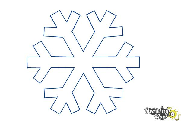 How to draw a simple snowflake step 7