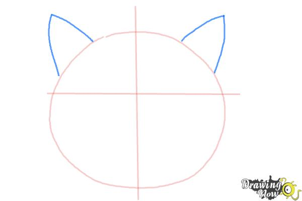 How to Draw a Simple Cat Face - Step 3