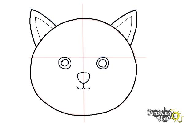 How to Draw a Simple Cat Face - Step 5