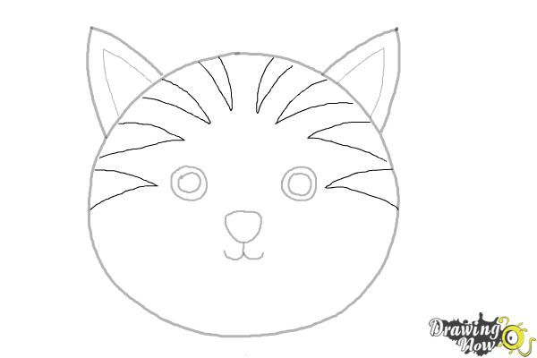 Line Drawing Of A Cat Face : How to draw a cat face drawingnow