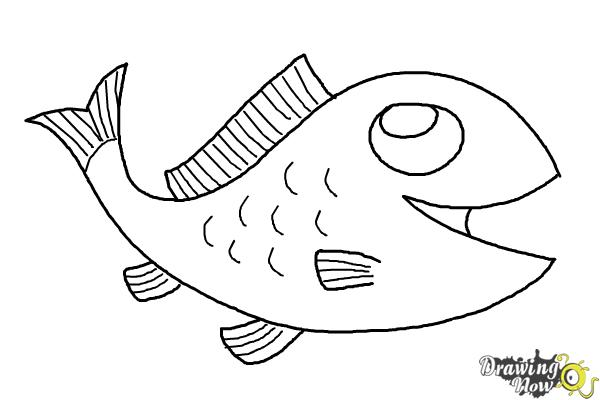 How to draw a simple fish step 10