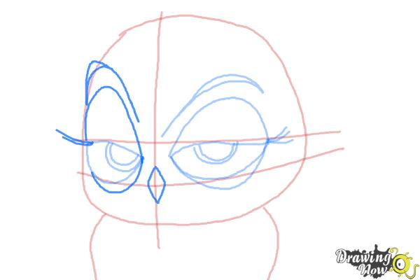 How to Draw Eva from The Penguins of Madagascar - Step 7