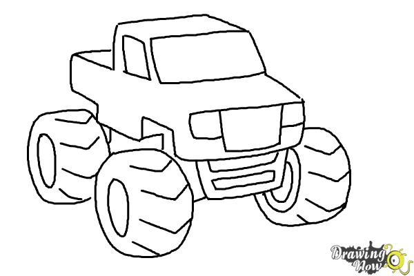 How To Draw A Monster Truck Step By Step Drawingnow